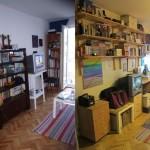 Inainte si dupa instalarea unei biblioteci suspendate. Se poate observa cat de mult loc s-a castigat in camera, inclusiv pentru birou.