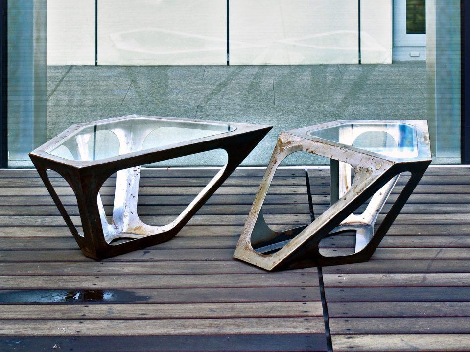 Masa Primo Simplexio cu finisaj industrial designer Madalin Gheorghe