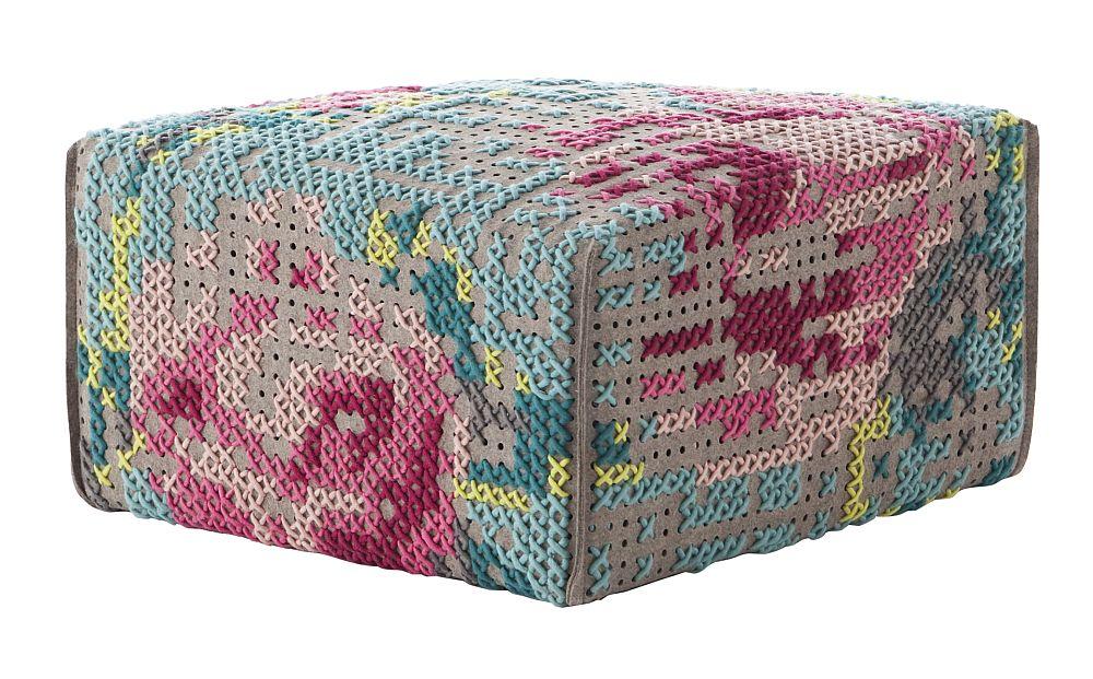 Puf Square Flowers Color, 60x60x35h cm, umplutura din spuma de cauciuc, colctia Canevas Space, design Charlotte Lancelot pentru Gan Rugs