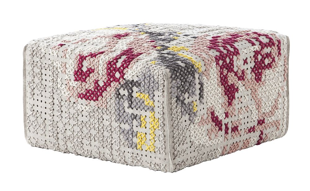 Puf Square Flowers Natural 60x60x35h cm, umplutura din spuma de cauciuc umplutura din spuma de cauciuc, colctia Canevas Space, design Charlotte Lancelot pentru Gan Rugs