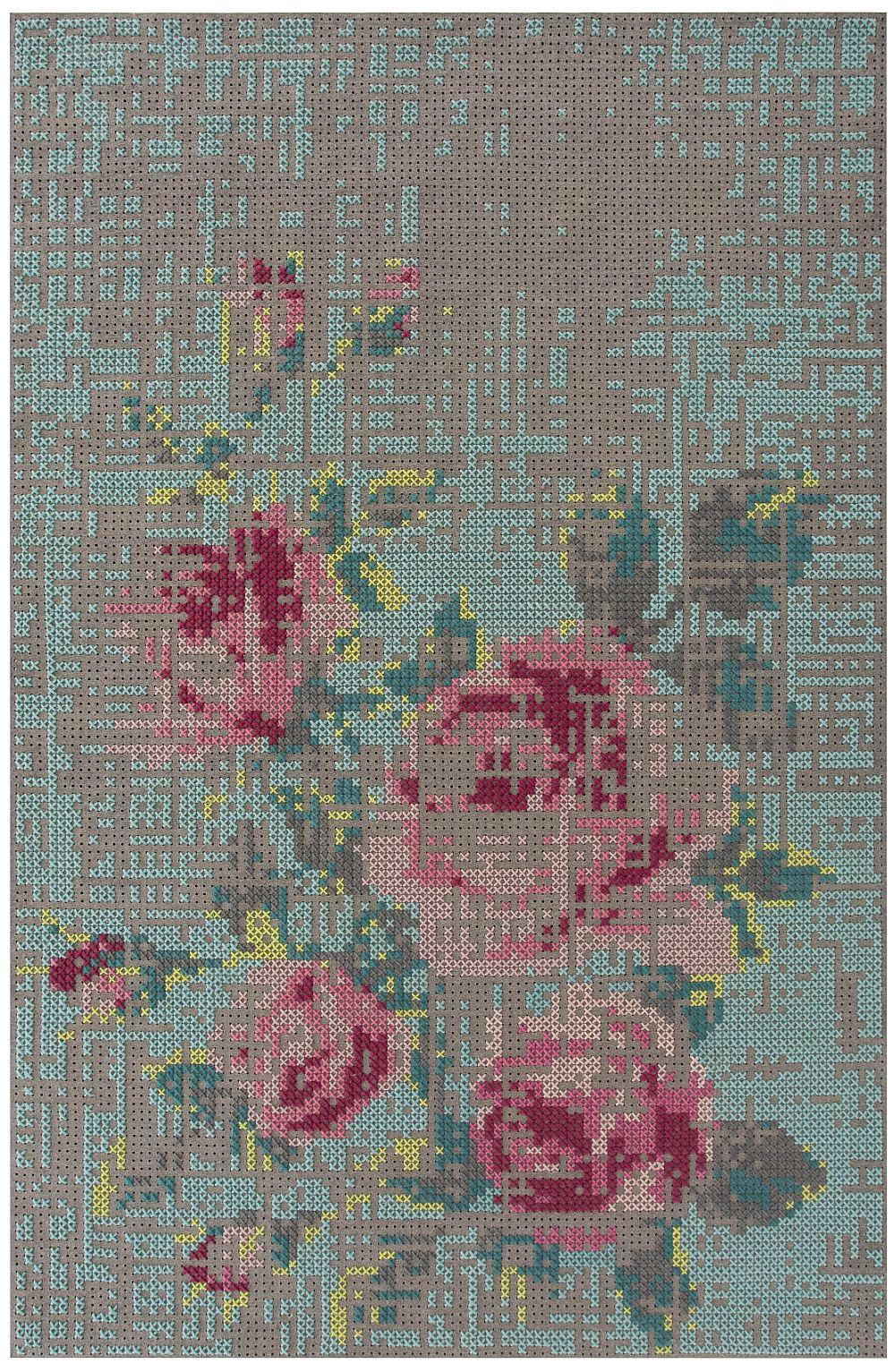 Colectia Canevas Space Designer Charlotte Lancelot Gan Rugs Covor Flowers Color 200x300 cm