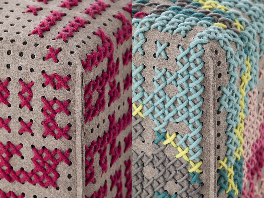Detalii de la pufii din colectia Canevas Space, designer Charlotte Lancelot, Gan Rugs