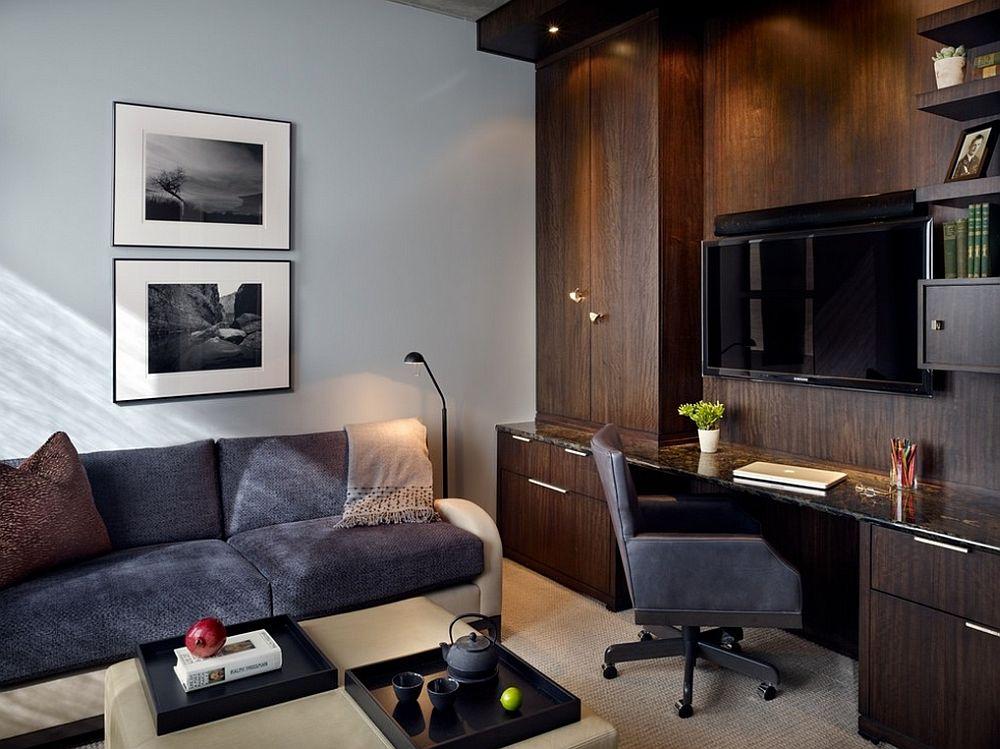 Se poate crea o zona de birou si in fata smart tv-ului, dar nu va fi cea mai inspirata solutie. Foto Nancy Sanford