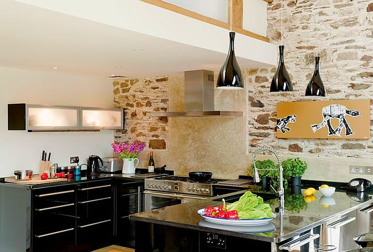 adelaparvu.com about Big Barn Larcombe Farm, modern black kitchen in a rustic cottage, Photo Andreas von Einsiedel  (10)