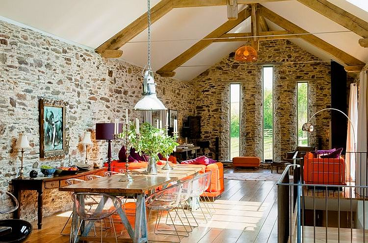 adelaparvu.com about Big Barn Larcombe Farm, modern dining room in a rustic cottage, Photo Andreas von Einsiedel  (6)