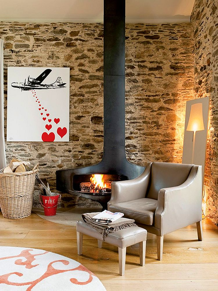 adelaparvu.com about Big Barn Larcombe Farm, modern fireplace in a rustic cottage, Photo Andreas von Einsiedel  (20)