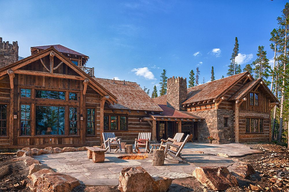 adelaparvu.com about Foxtail residence in Yellowstone Club, Big Sky, Montana, architect Faure Halvorsen Architects, outside fireplace, Photo Karl Neumann (2)