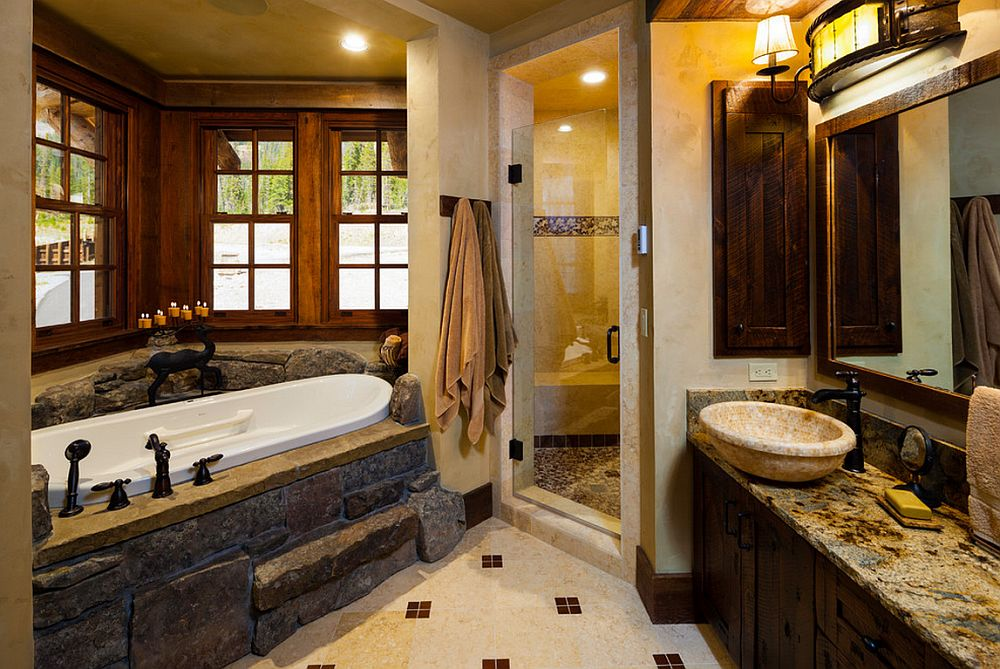 adelaparvu.com about Foxtail residence in Yellowstone Club, Big Sky, Montana, country western bathroom, architect Faure Halvorsen Architects, Photo Karl Neumann (5)