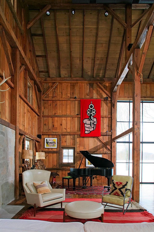 adelaparvu.com despre Michigan Barn, architect Austin DePree, Northworks Architects, interior living rustic in hambar modernizat  (7)