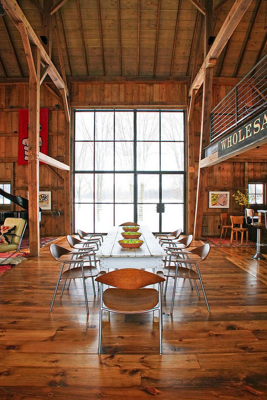adelaparvu.com despre Michigan Barn, architect Austin DePree, Northworks Architects, interior sufragerie rustica in hambar modernizat (9)