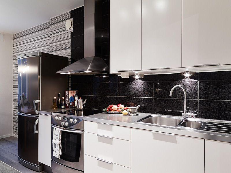 adelaparvu.com despre apartament de doua camere, bucatarie alb cu negru, Foto Jonas Berg (7)