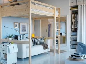 adelaparvu.com despre loc pentru pat si canapea in aceeasi camera, paturi supraetajate pentru adulti IKEA (1)
