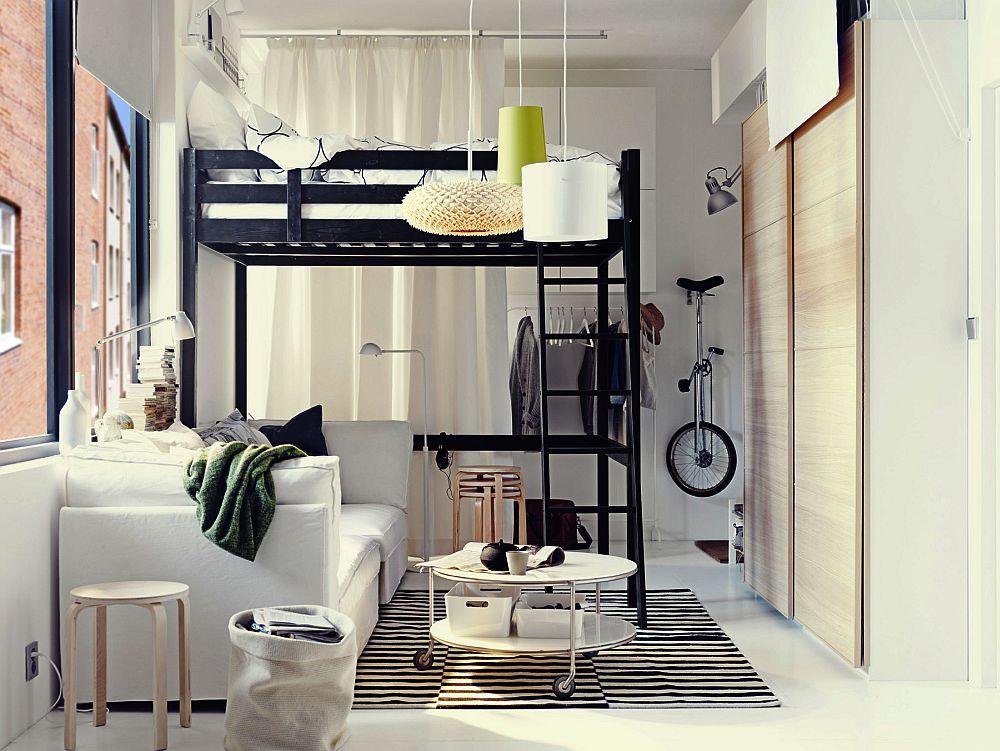 adelaparvu.com despre loc pentru pat si canapea in aceeasi camera, paturi supraetajate pentru adulti IKEA (4)