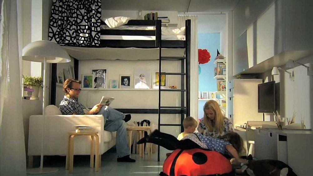 adelaparvu.com despre loc pentru pat si canapea in aceeasi camera, paturi supraetajate pentru adulti IKEA (5)