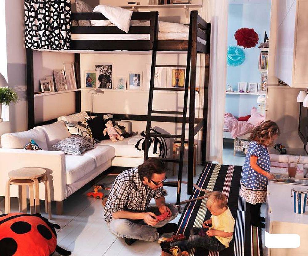 adelaparvu.com despre loc pentru pat si canapea in aceeasi camera, paturi supraetajate pentru adulti IKEA (6)