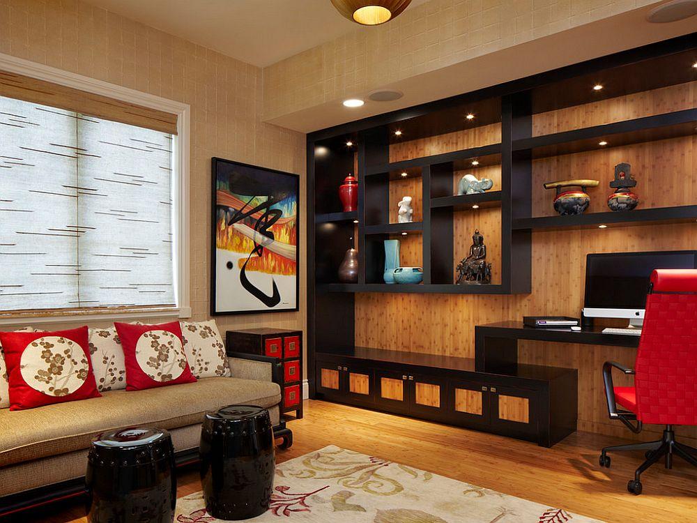 Un tapet cu aspect natural, ca de bambus, va arata bine cu mobila wenge si poti decora cu bucati de tapet si partea mai plina, foto Arnold Schulman Design Group