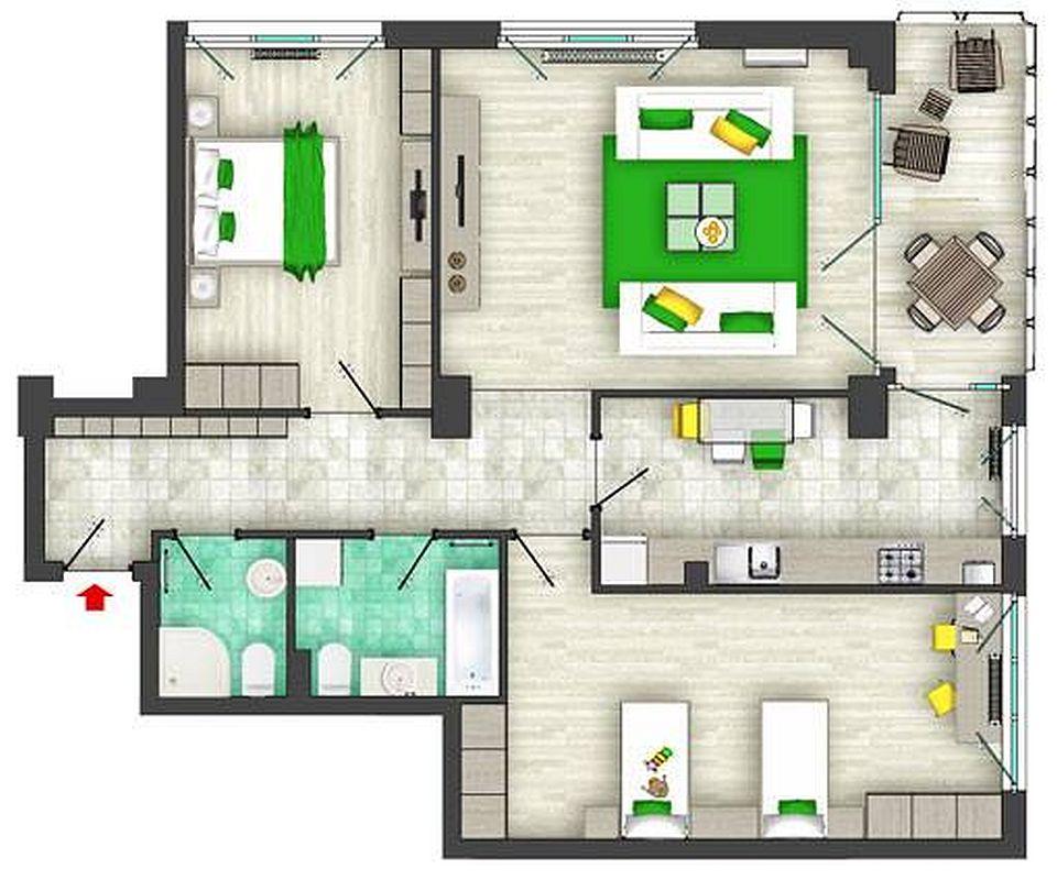 Prima propunere de amenajare pentru apartament