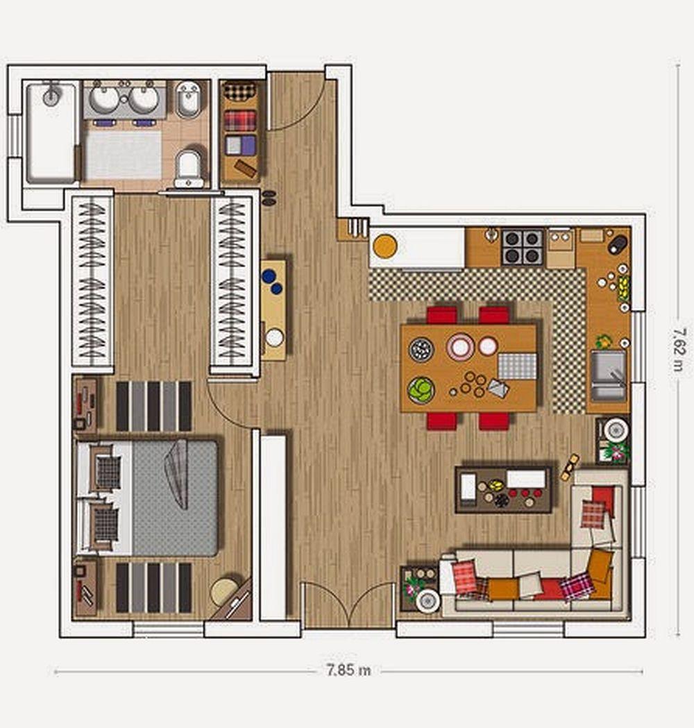 adelaparvu.com despre apartament de doua camere cu bucatarie deschisa si dressing generos, Foto Micasa (14)