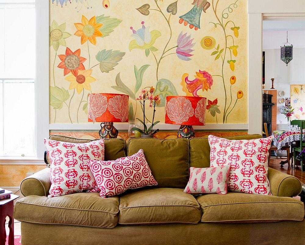adelaparvu.com despre casa veche de artisti din Boston cu pereti pictati cu flori, Foto Rikki Snyder (2)