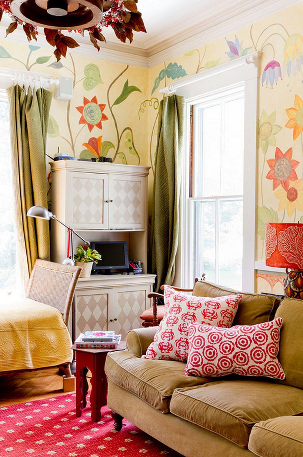 adelaparvu.com despre casa veche de artisti din Boston cu pereti pictati cu flori, Foto Rikki Snyder (3)