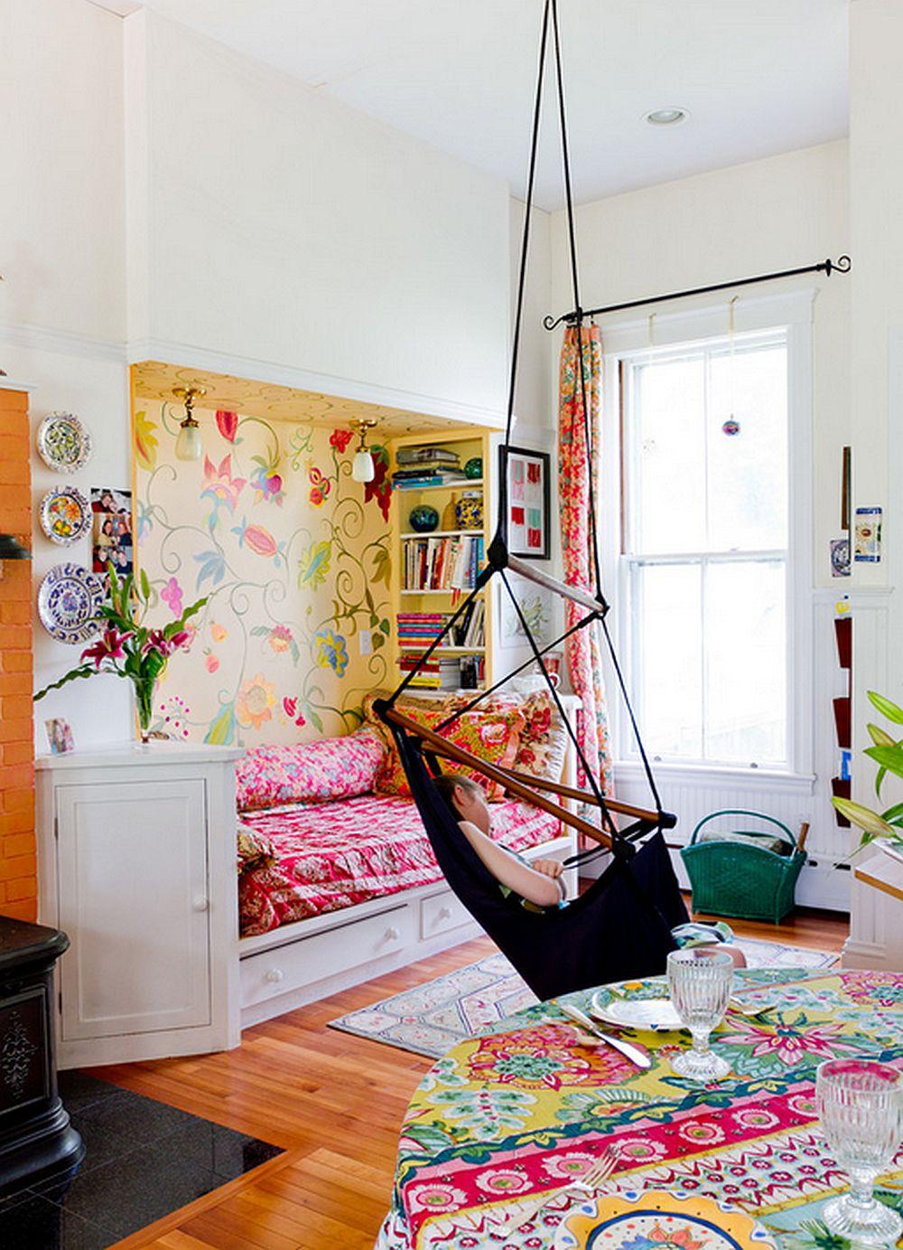 adelaparvu.com despre casa veche de artisti din Boston cu pereti pictati cu flori, Foto Rikki Snyder (5)
