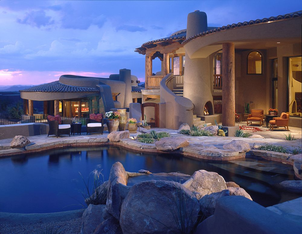 adelaparvu.com despre casa cu arhitectura organica in desert, casa rustica Pinnacle Canyon, arhitect Lee Hutchison  (1)
