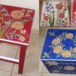 adelaparvu.com despre mobila pictata, cufere, lazi pictate, taburete pictate, artist Agnes Ile (1)