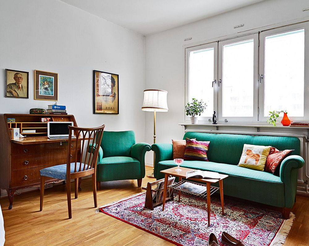 adelaparvu.com, garsoniera cu aer vintage, loc de canapea si pat in aceesi camera, Foto Stadshem (1)