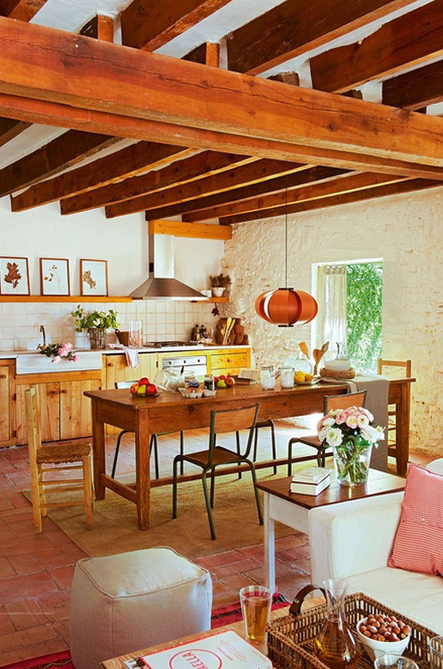 adelaparvu.com hambar transformat intr-o casa rustica, buacatrie si sufragerie rustica, arhitect Lluis Auquer, Foto ElMueble (7)