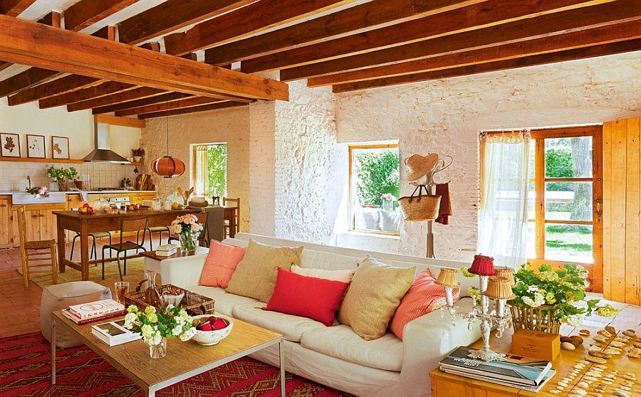 adelaparvu.com hambar transformat intr-o casa rustica, living rustic deschis catre bucatarie, arhitect Lluis Auquer, Foto ElMueble (6)