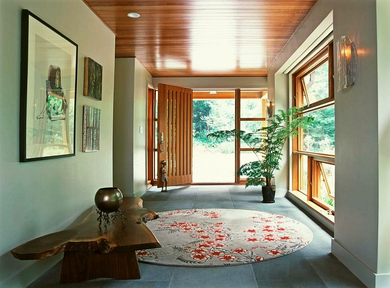 adelaparvu.com interior cu lemn reciclat, casa cu lemn si nuante de verde, tapet cu motive asiatice, design interior Dufner Heighes  (3)