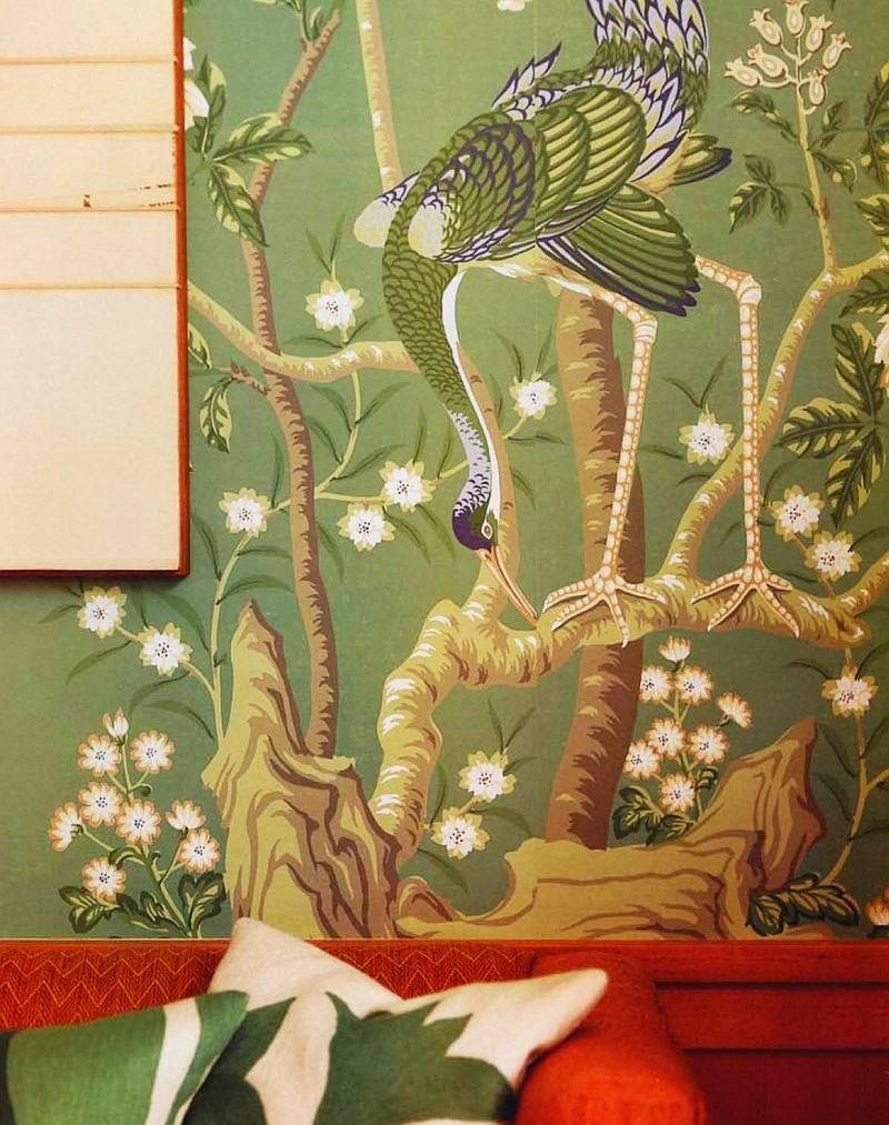 adelaparvu.com interior cu lemn reciclat, casa cu lemn si nuante de verde, tapet cu motive asiatice, design interior Dufner Heighes  (4)
