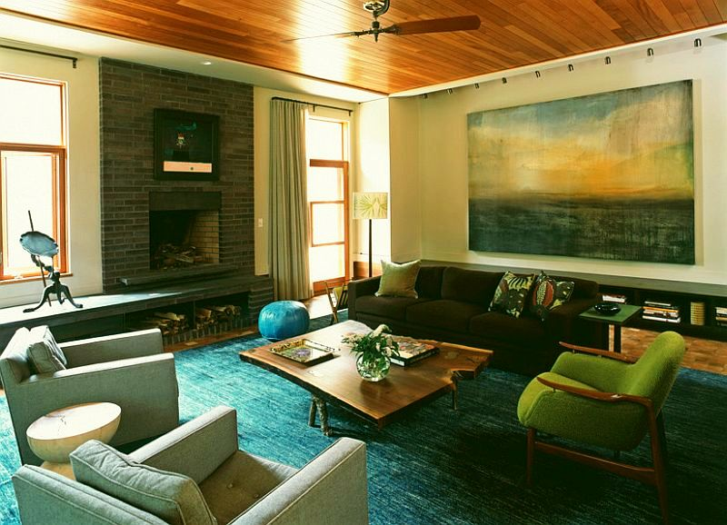 adelaparvu.com interior cu lemn reciclat, casa cu lemn si nuante de verde, tapet cu motive asiatice, design interior Dufner Heighes  (5)