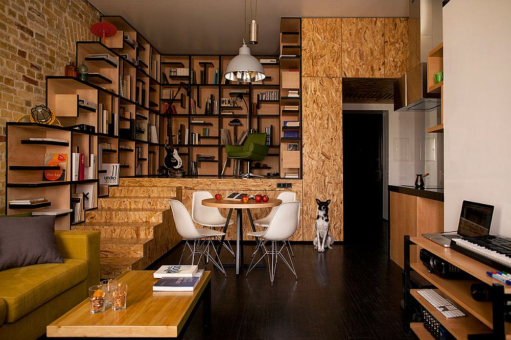 adelaparvu.com despre amenajare apartament de doua camere, mobila cu OSB, concept Constant Motion, arhitect AlexBykov (1)