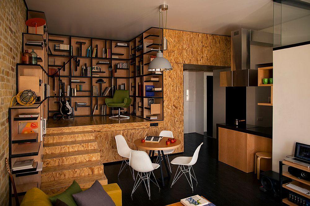adelaparvu.com despre amenajare apartament de doua camere, mobila cu OSB, concept Constant Motion, arhitect AlexBykov (2)