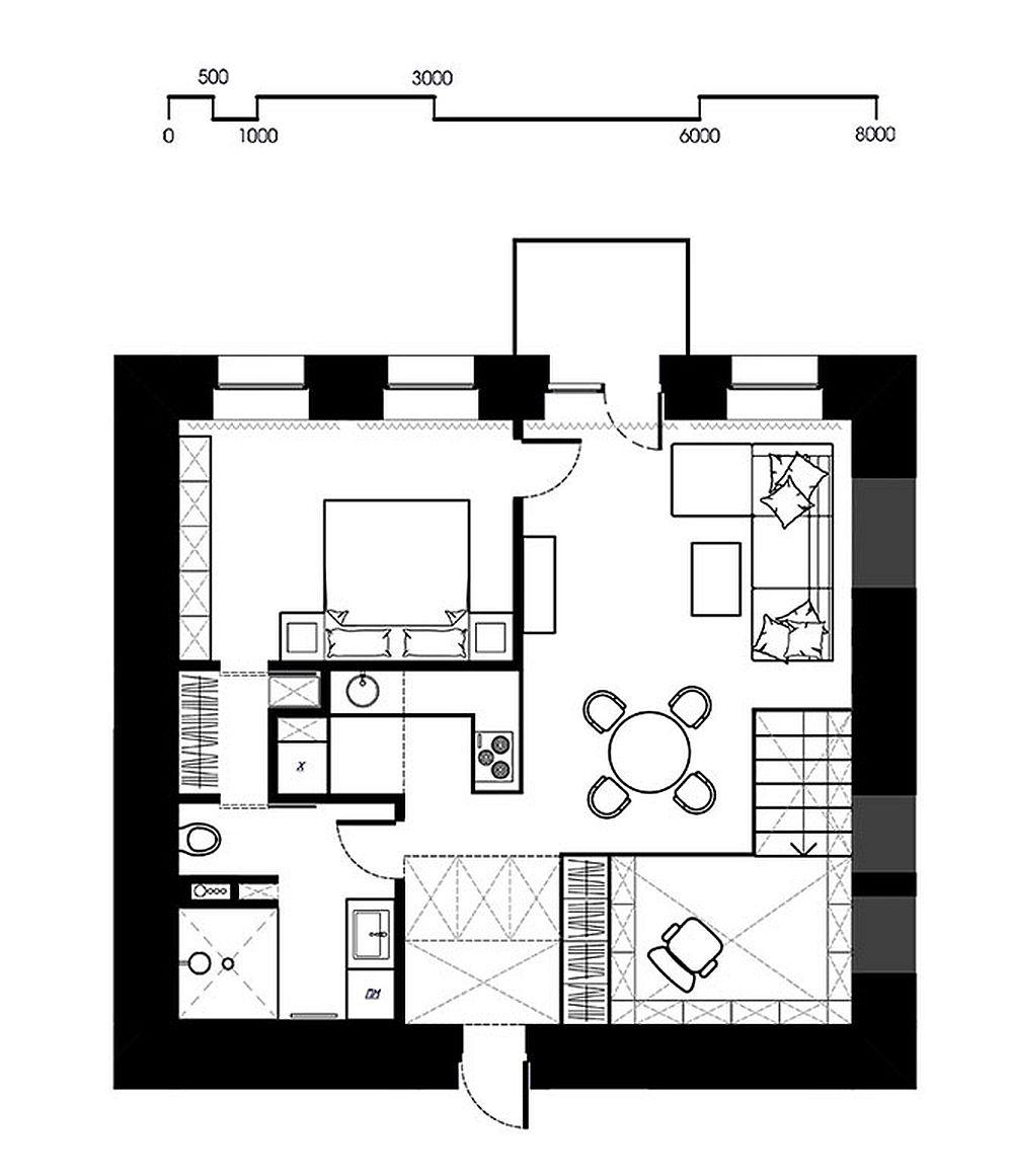 adelaparvu.com despre amenajare apartament de doua camere, mobila cu OSB, concept Constant Motion, arhitect AlexBykov (21)