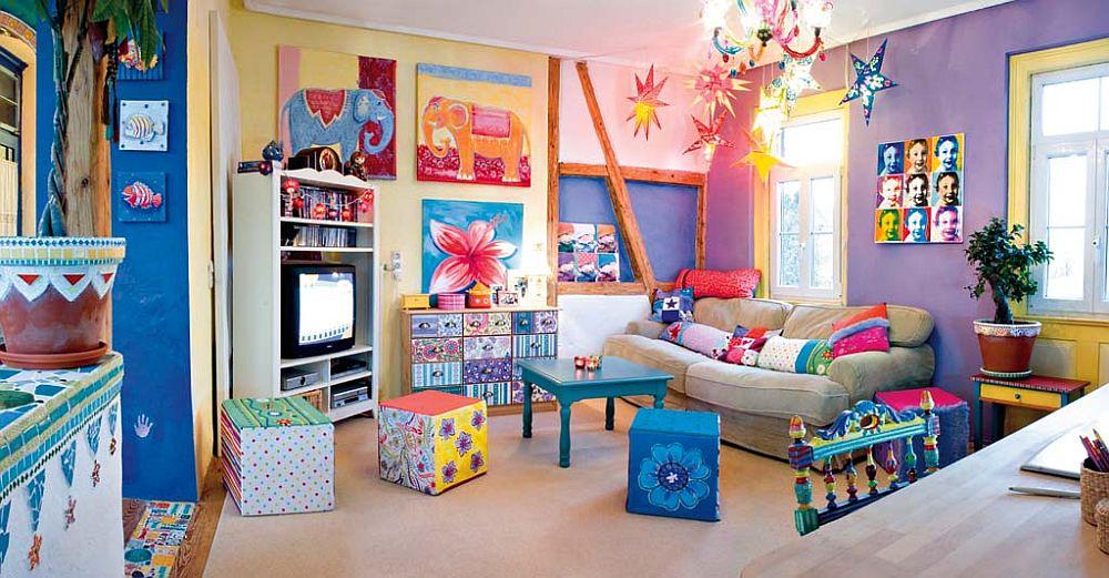 adelaparvu.com despre casa colorata, gard cu forma de creioane, interioare colorate, idei creative acasa, designer Bine Braendle (11)