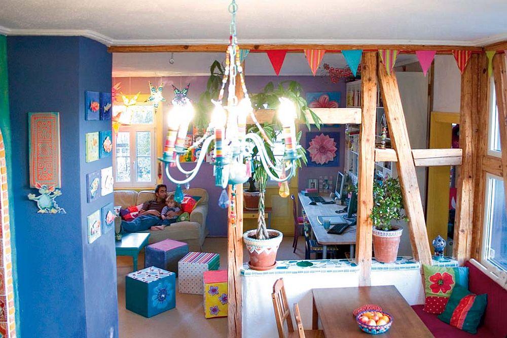 adelaparvu.com despre casa colorata, gard cu forma de creioane, interioare colorate, idei creative acasa, designer Bine Braendle (6)