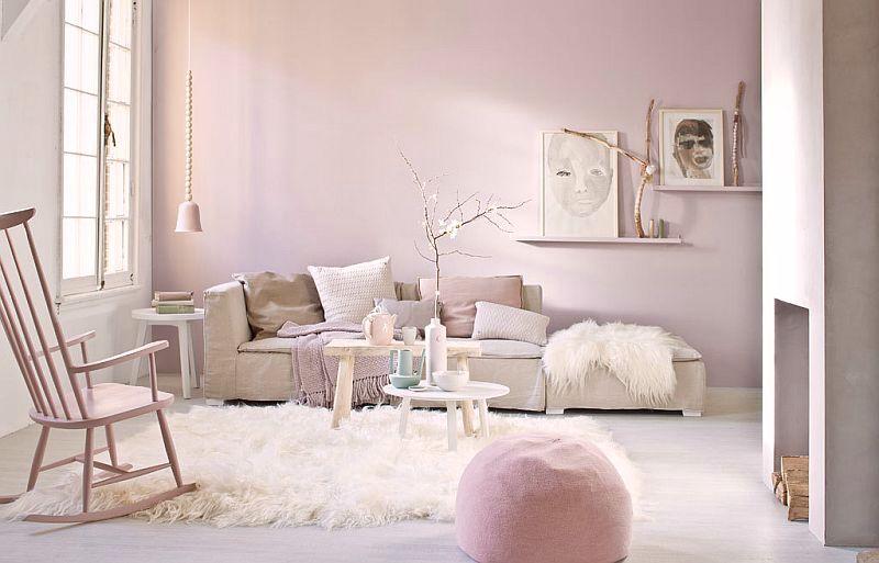 adelaparvu.com despre roz pastelat in living, pereti roz in living (6)