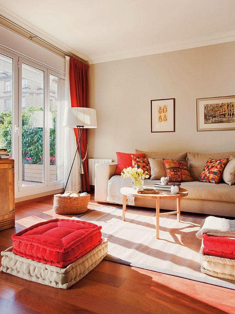 adelaparvu.com locuinta cu decoratiuni rosii, living cu draperii rosii, Foto Mauricio Fuertes, Casa Diez (2)