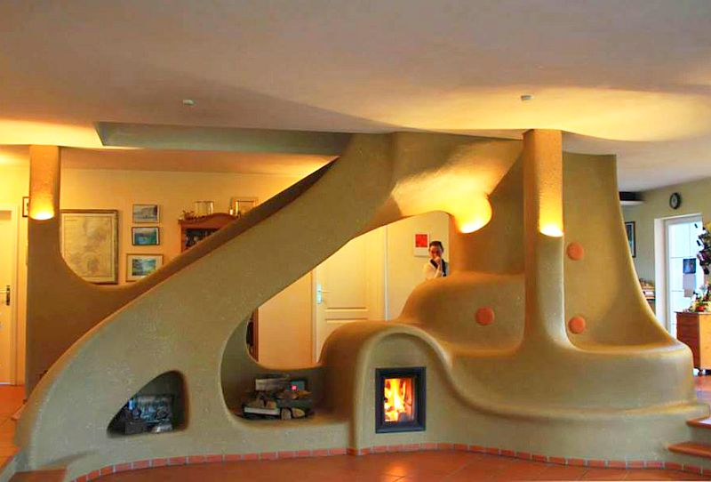 adelaparvu.com semineu si scara interioara din lut, cob interior structure, design Lehm und Feuer (1)