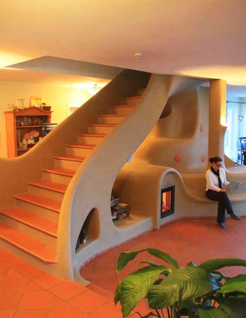 adelaparvu.com semineu si scara interioara din lut, cob interior structure, design Lehm und Feuer (2)