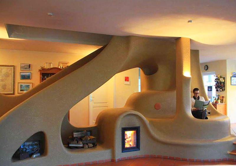 adelaparvu.com semineu si scara interioara din lut, cob interior structure, design Lehm und Feuer (3)
