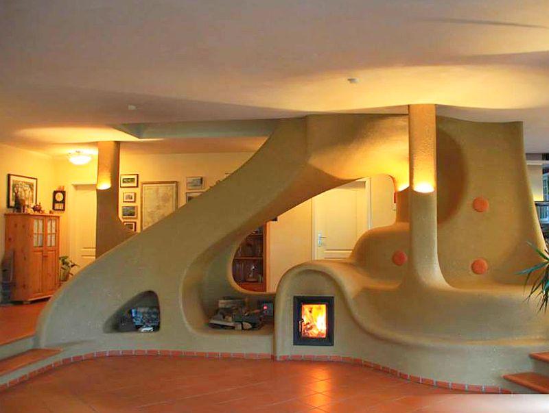 adelaparvu.com semineu si scara interioara din lut, cob interior structure, design Lehm und Feuer (4)