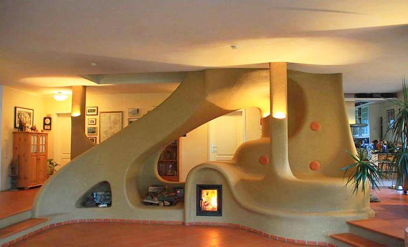 adelaparvu.com semineu si scara interioara din lut, cob interior structure, design Lehm und Feuer (5)