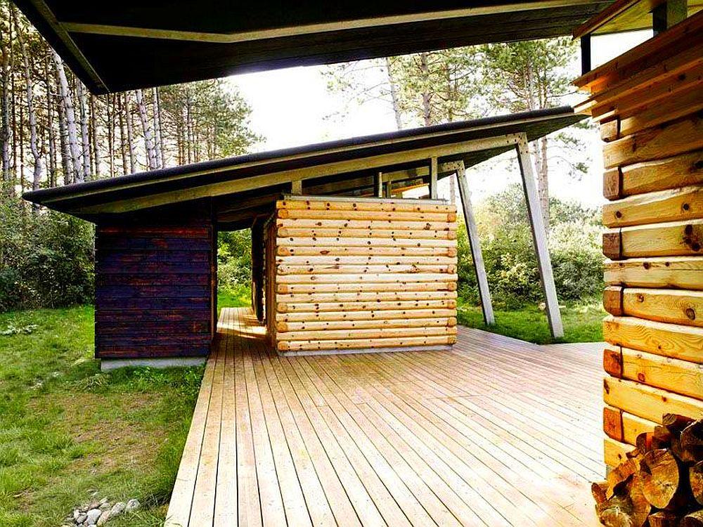adelaparvu.com despre casa de vacanta moderna, casa daneza, casa din busteni de lemn moderna, arhitect Jesper Brask, Tree House (10)