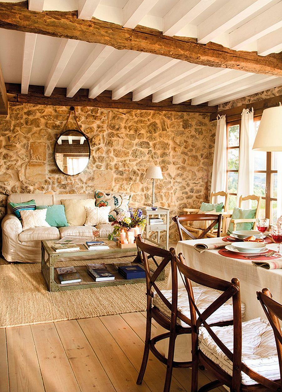 adelaparvu.com despre casa rustica din piatra, interior provensal, casa Spania, design interior Blanca Uriarte, Foto ElMueble (2)