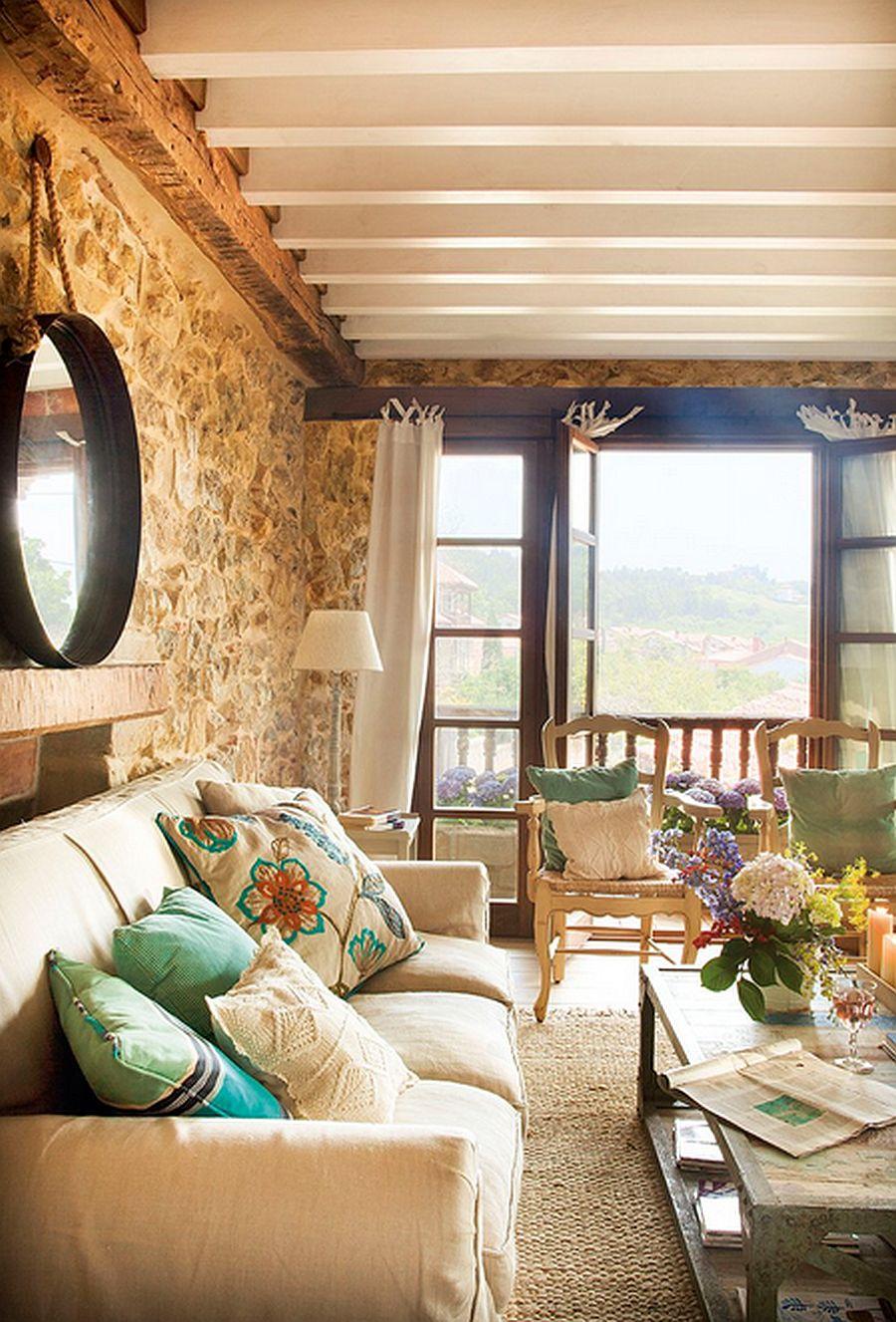 adelaparvu.com despre casa rustica din piatra, interior provensal, casa Spania, design interior Blanca Uriarte, Foto ElMueble (4)