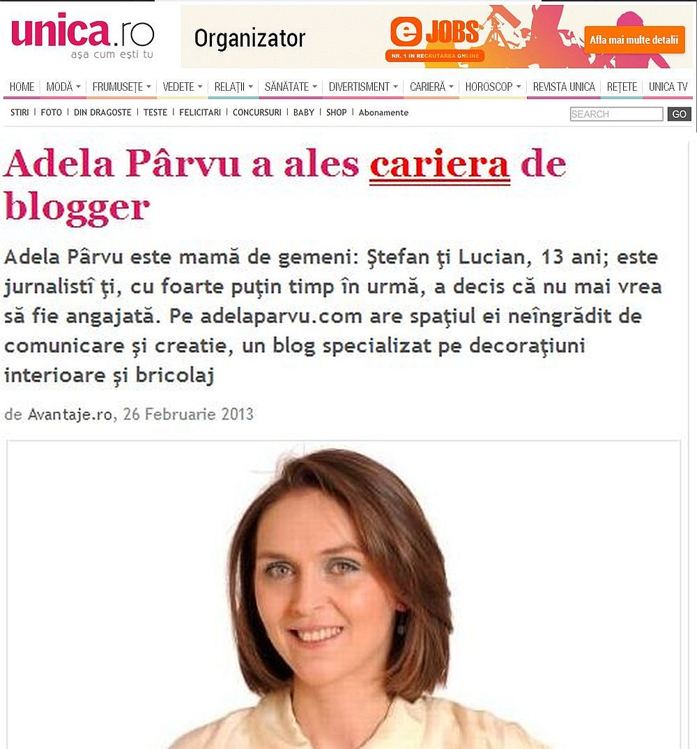 Adela Parvu in revista Unica