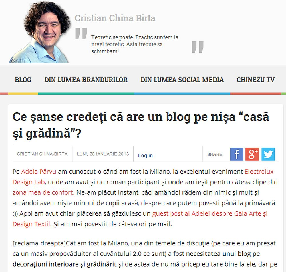 Cristian China Birta despre Adela Parvu